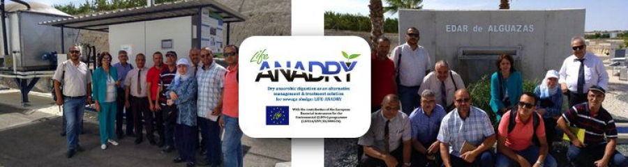 A delegation from the Government of Tunisia visits the LIFE-ANADRY project at the Alguazas WWTP in Murcia
